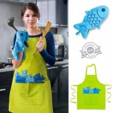 סט סינר וכפפת מטבח דג כחול