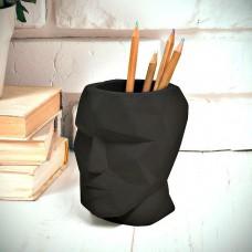 כוס עטים יציקת בטון The Head - שחור
