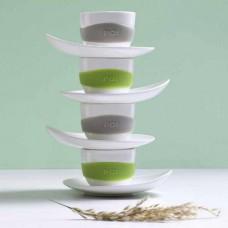 מארז ארבעה ספלי אספרסו עם תחתיות בדמות עלה מתעגל Leaf - מיקס צבעי אדמה